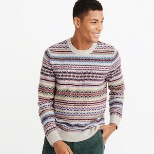 Men's Abercrombie and Fitch Fair Isle Crew Sweater